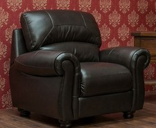 Cambridge Leather Armchair Sofa Available In Chestnut Or Dark Brown