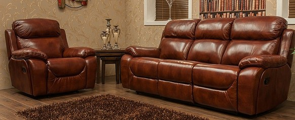 Carson 3+1 Seater Reclining Leather Sofa Suite Brandy