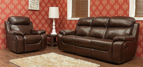 Carson 3 1 1 Seater Reclining Leather Sofa Suite Brandy