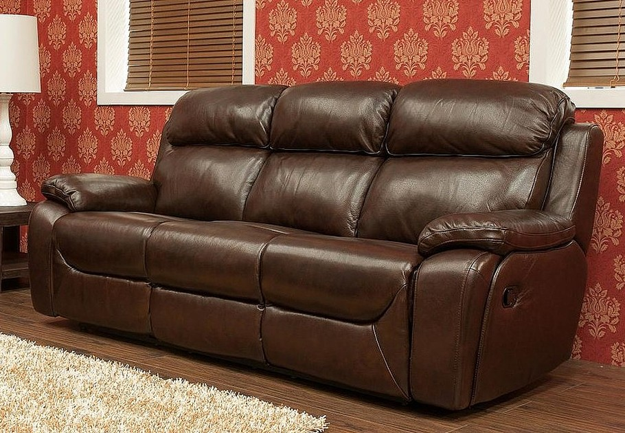 Carson 3 Seater Reclining Leather Sofa Brandy Tabak Or Wine