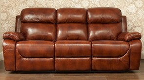 Carson 3 Seater Reclining Leather Sofa Settee Brandy