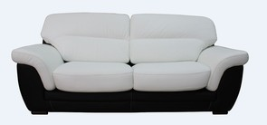 Daniel 3 Seater Italian Leather Contemporary Sofa Black White