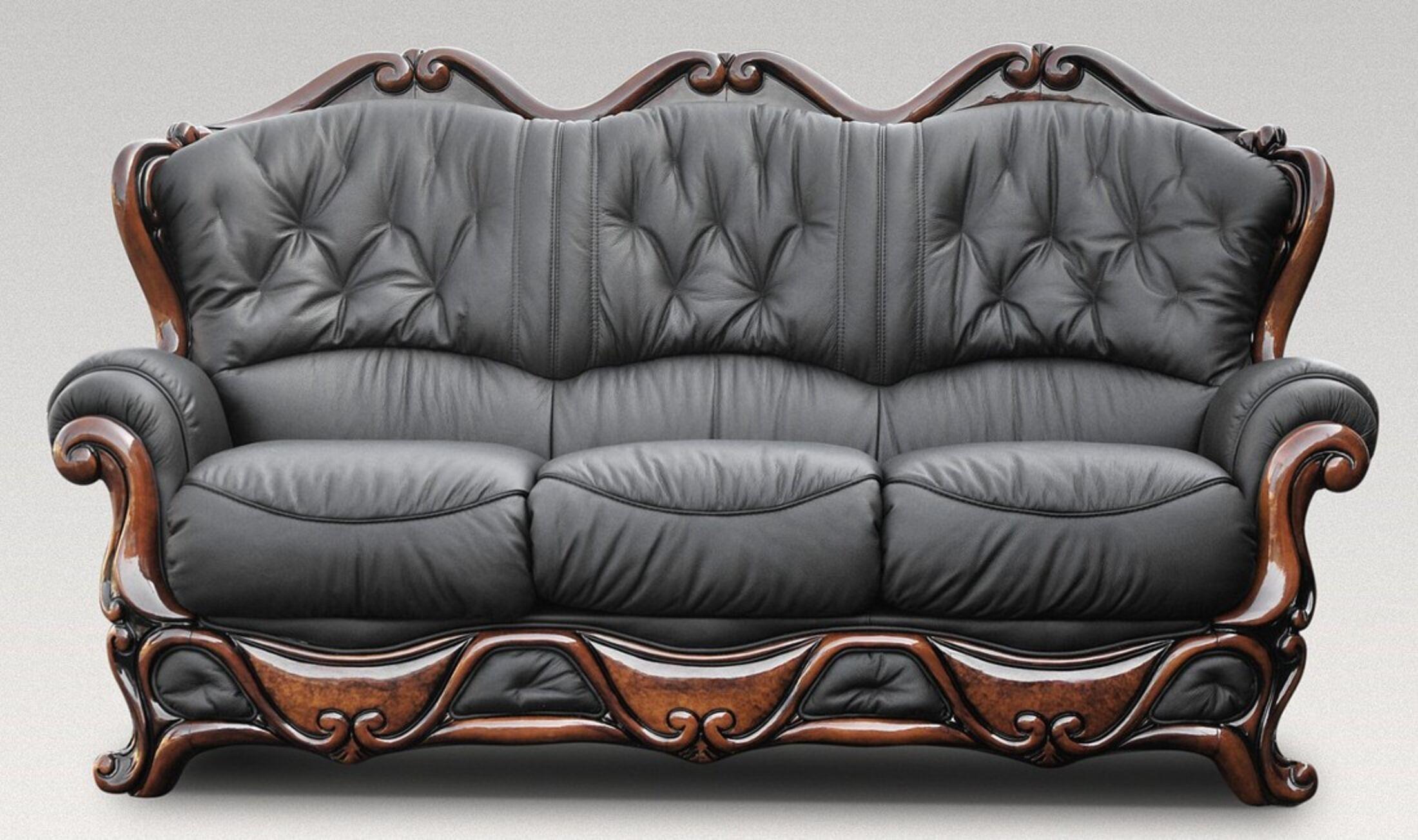 Dante 3 Seater Italian Leather Sofa Settee Offer Black