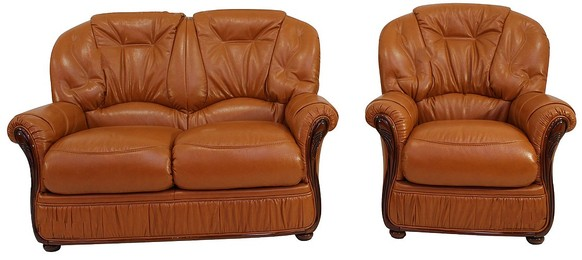 Mars Range 2 Seater + Armchair Genuine Italian Tan Leather Sofa Suite Offer