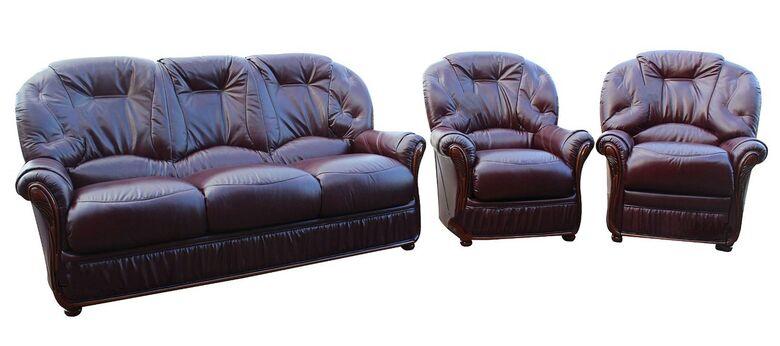 Genuine Italian Burgundy Leather Sofa