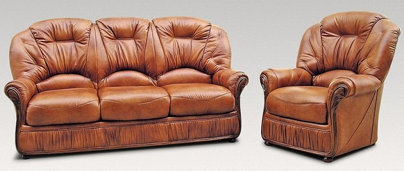 Indiana 3 Seater + Armchair Genuine Italian Tan Leather Sofa Suite Offer