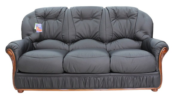 Mars Range Genuine Italian Leather 3 Seater Sofa Settee Black
