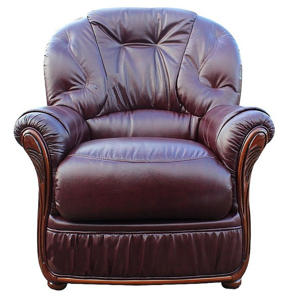 Mars Range Genuine Italian Sofa Armchair BurgUndy Leather