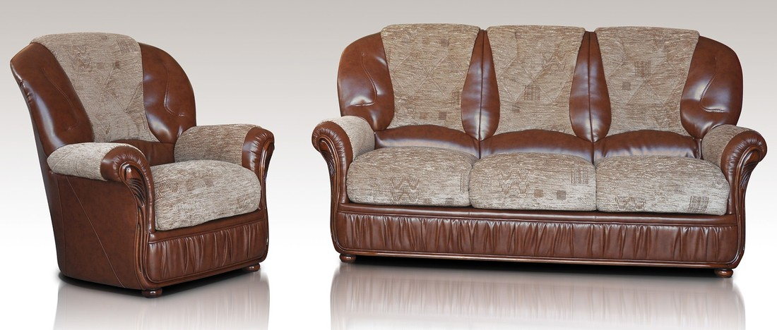 Kansas 3+1+1 Genuine Italian Brown Leather Fabric Sofa Suite Offer