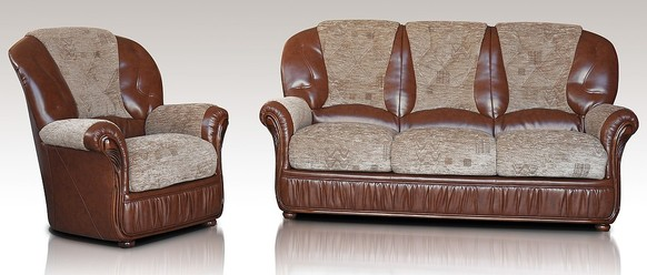 Emma 3+1 Genuine Italian Brown Leather Fabric Sofa Suite Offer
