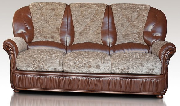 Emma 3 Seater Genuine Italian Brown Leather Fabric Sofa Settee Offer