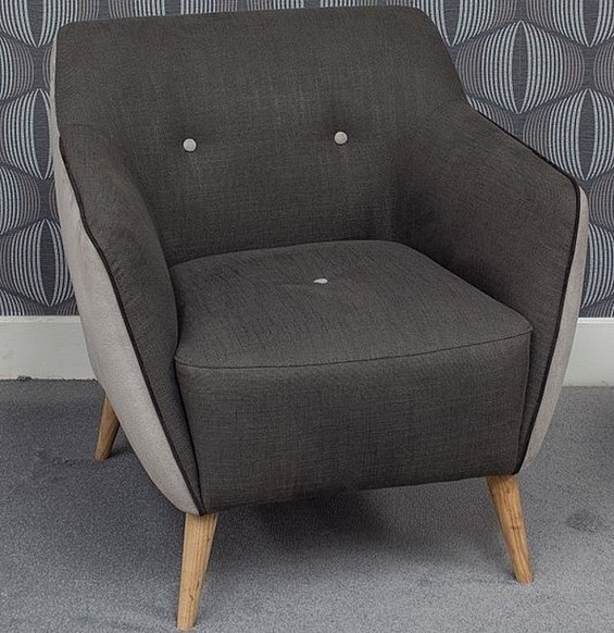 Enzo 1 Seater Fabric Sofa Armchair Dark Grey