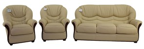 Florence 3+1+1 Genuine Italian Cream Leather Sofa Suite Offer