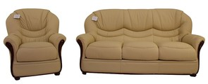Florence 3+1 Genuine Italian Cream Leather Sofa Suite Offer