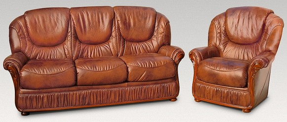 Genoa 3 Seater + Armchair Genuine Italian Tabak Brown Leather Sofa Suite Offer