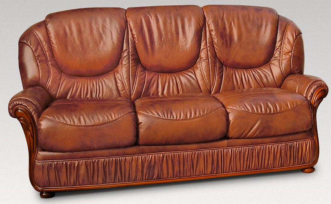 Florida 3 Seater Genuine Italian Tan, Leather Furniture Florida