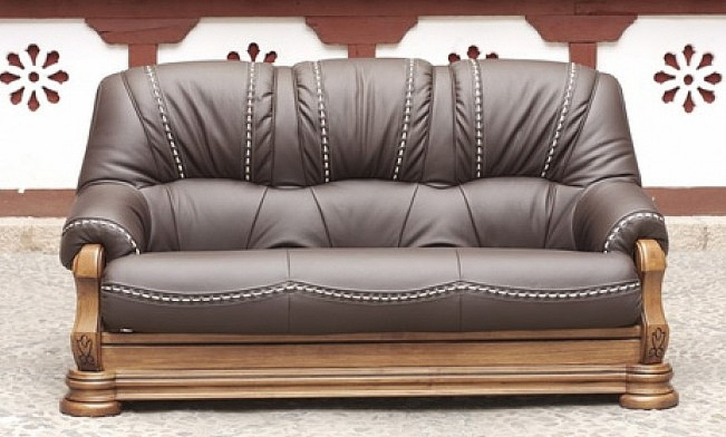 Gredos 3+2 Seater Italian Leather Sofa Suite Tabaco Brown