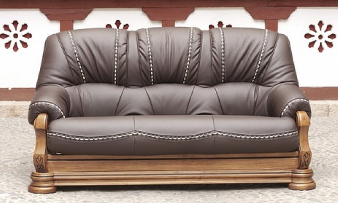 Gredos 3 Seater Italian Leather Sofa Settee Tabaco Brown