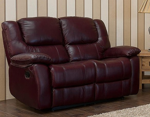 Harvey Reclining 2 Seater Leather Sofa Burgandy
