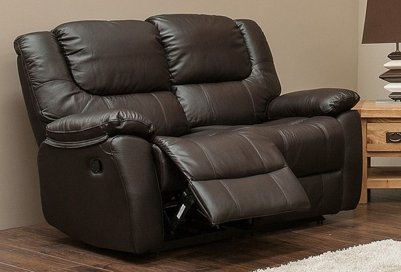 Harvey Reclining 2 Seater Leather Sofa Espresso Brown