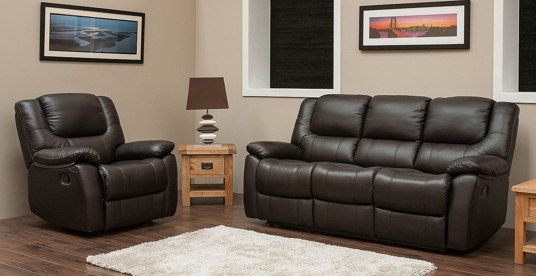Harvey Reclining 3 1 Leather Sofa Suite Available In