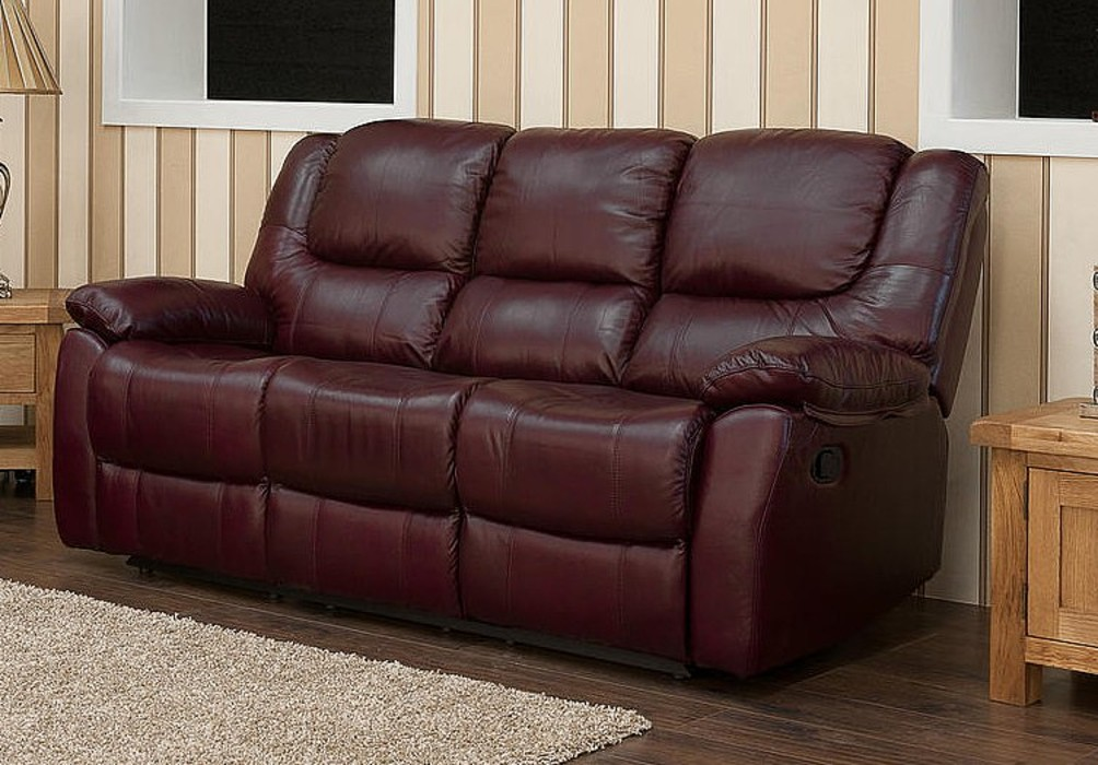Harvey Reclining 3 Seater Leather Sofa Burgandy