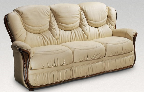 Iowa 3 Seater Genuine Italian Cream Leather Sofa Settee Offer