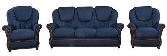 Juliet 3+1+1 Genuine Italian Navy Blue Leather Sofa Suite Offer