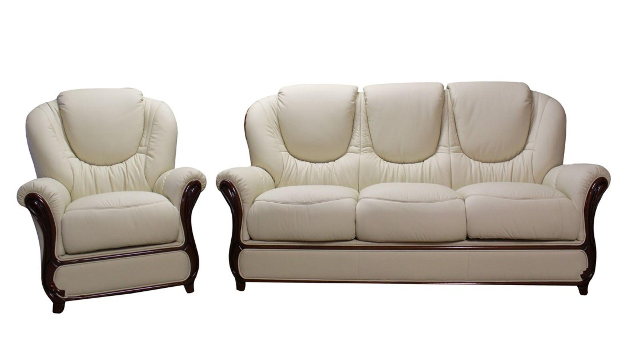 Juliet 3 Seater + Armchair Genuine Italian Cream Leather Sofa Suite Offer