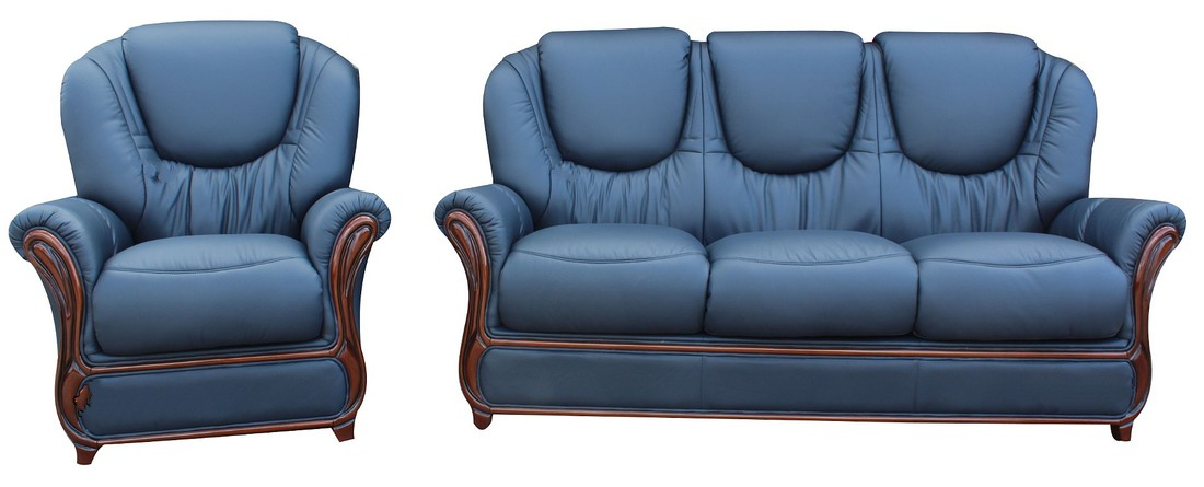Juliet 3 Seater Armchair Genuine Italian Navy Blue