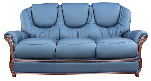 Juliet Genuine Italian Leather 3 Seater Sofa Settee Navy Blue