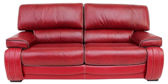 Kentucky 3 Seater Genuine Italian Red Leather Sofa Settee Offer