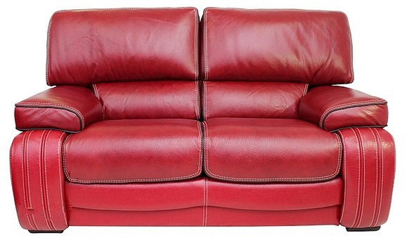 Kentucky 2 Seater Genuine Italian Red Leather Sofa Settee Offer