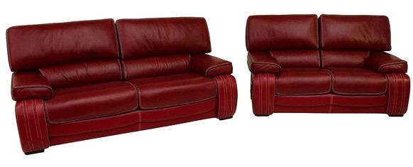 Livorno 3 Seater + 2 Seater Genuine Italian Red Leather Sofa Suite Offer