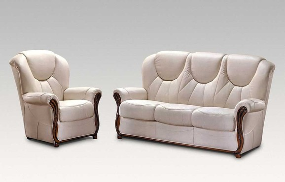 Lucca 3+1+1 Genuine Italian Cream Leather Sofa Suite Offer
