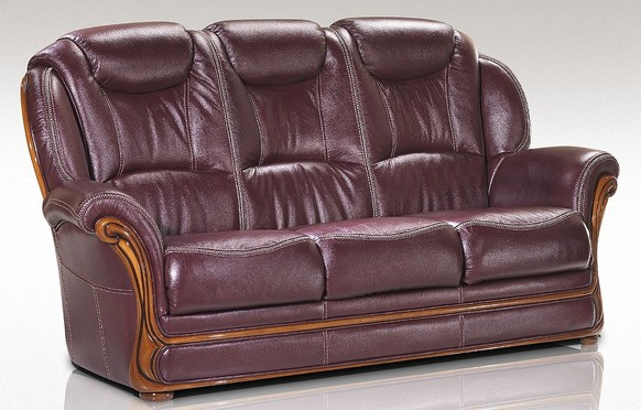 Maia 3 Seater Sofa Settee Genuine Italian Burgandy Leather Offer
