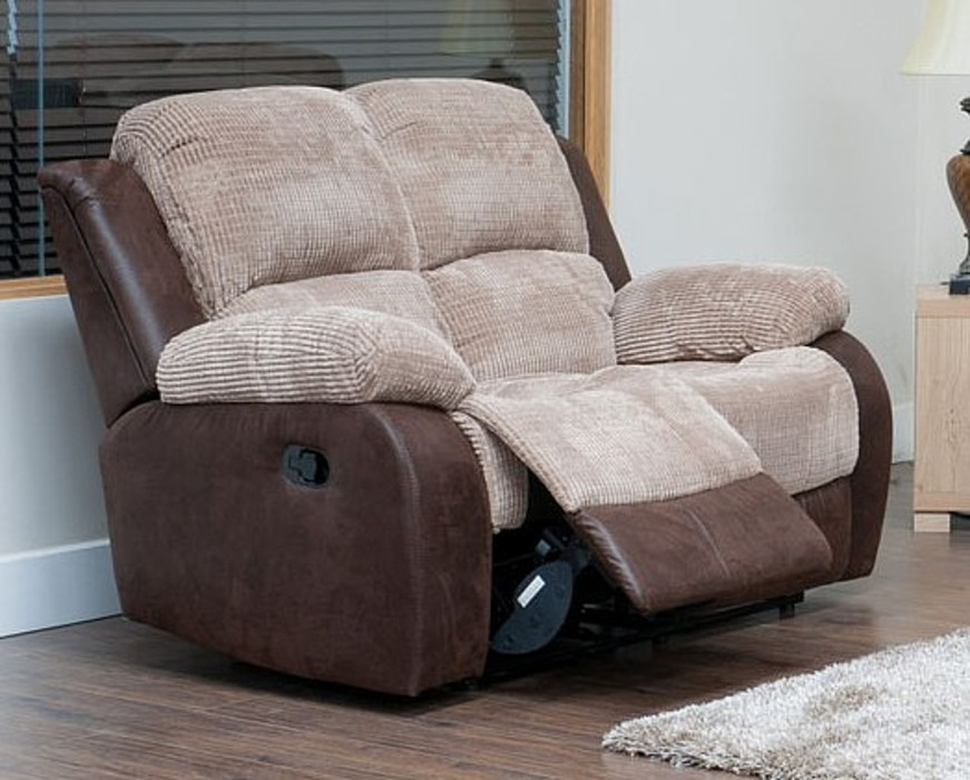 Milton 2 Seater Reclining Fabric Sofa Beige