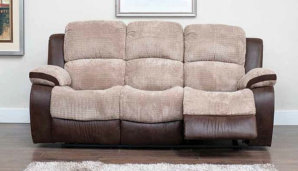 milton 3 seater reclining fabric sofa beige. Black Bedroom Furniture Sets. Home Design Ideas