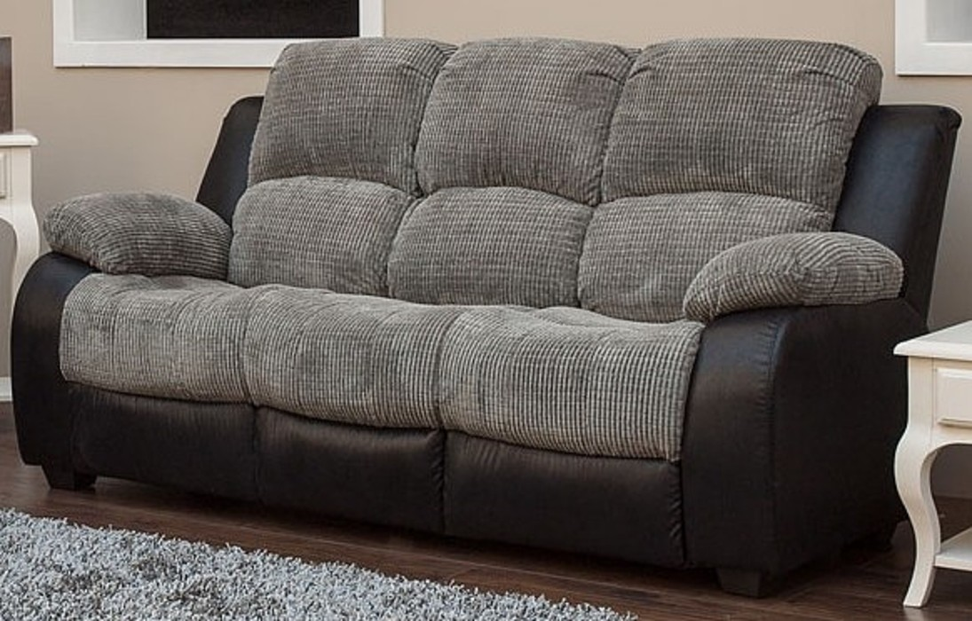 Milton 3 Seater Reclining Fabric Sofa Charcoal