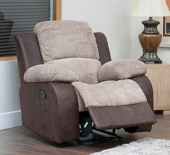 Milton Reclining Armchair Fabric Sofa Beige