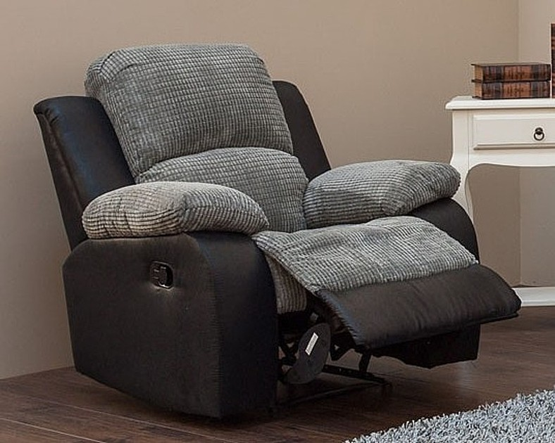Milton Reclining Armchair Fabric Sofa Charcoal