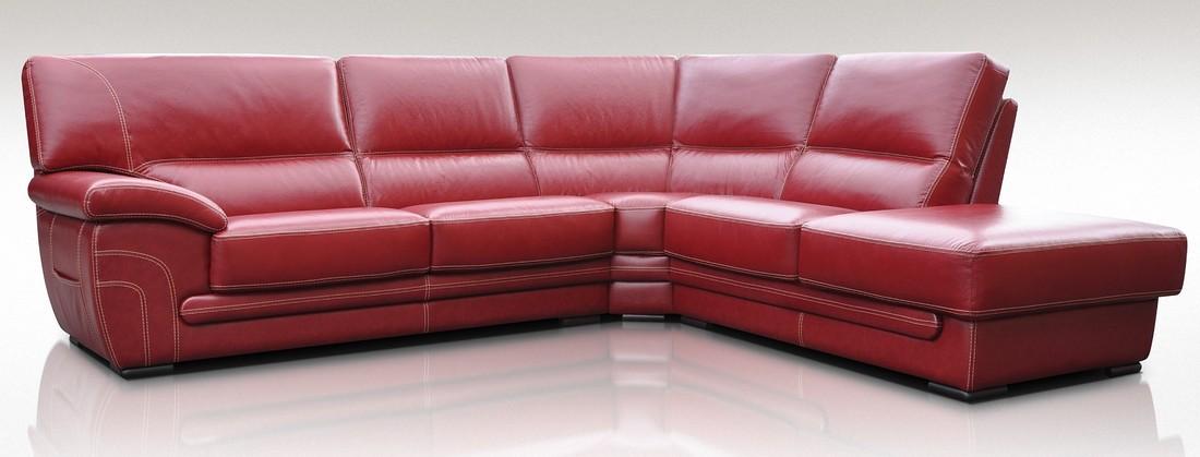 Naples 3 + Corner + 1 Genuine Italian Red Leather Corner Sofa Group ...