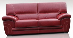 Naples 3 Seater Genuine Italian Red Leather Sofa Offer