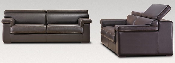 Nettuno 3 Seater + 2 Seater Genuine Italian Brown Chocolate Leather Sofa Suite Offer