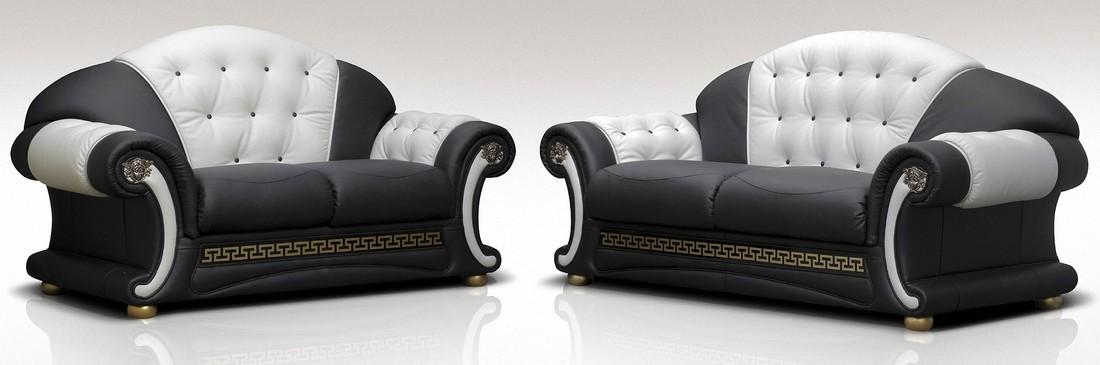 North Carolina 3 Seater 2 Genuine Italian Black White Leather Sofa Suite Offer