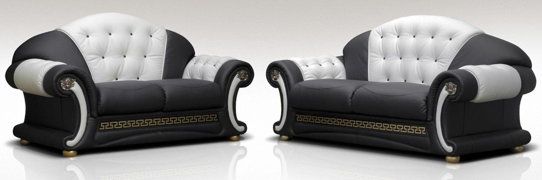 North Carolina 3 Seater + 2 Seater Genuine Italian Black White Leather Sofa  Suite Offer