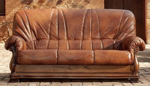 Oporto 3 Seater Italian Leather Sofa Settee Camel Brown