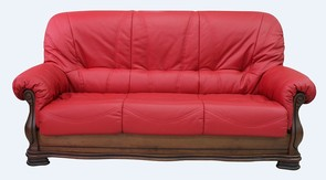 Oporto 3 Seater Italian Leather Sofa Settee Ferrari Red