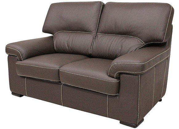 Patrick Contemporary 2 Seater Sofa Chocolate Brown Italian Leather