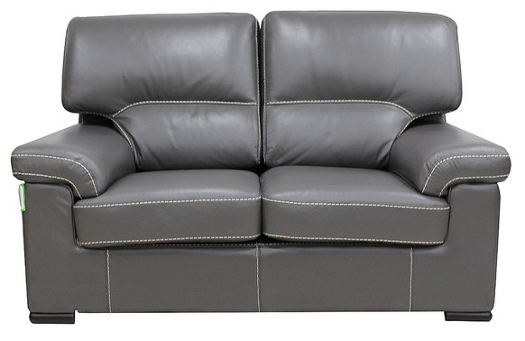 Patrick Contemporary 2 Seater Sofa Grey Italian Leather